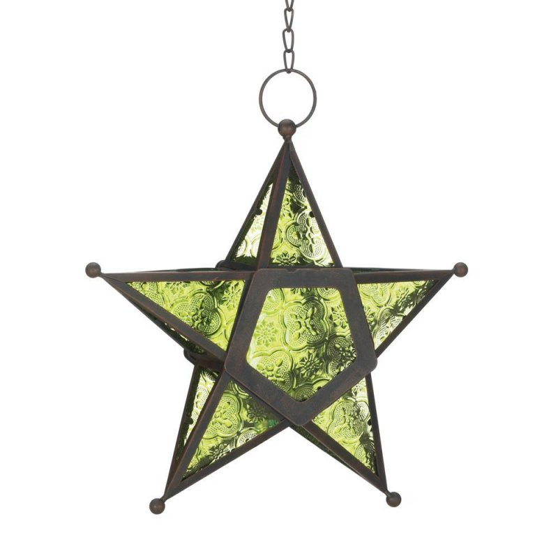 Image 0 of Hanging Emerald Green Star Candle Lanterns Use Indoors or Outdoors  Iron & Glass