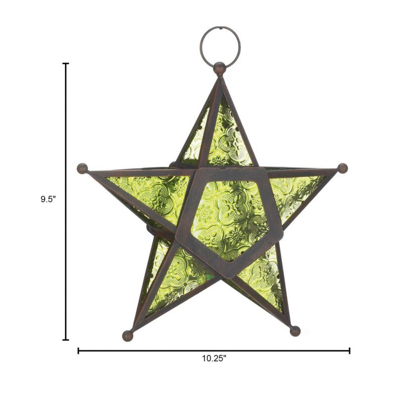 Image 2 of Hanging Emerald Green Star Candle Lanterns Use Indoors or Outdoors  Iron & Glass