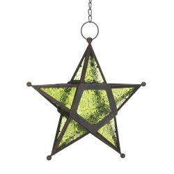 Hanging Emerald Green Star Candle Lanterns Use Indoors or Outdoors  Iron & Glass