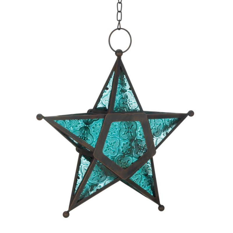 Image 0 of Hanging Blue Star Candle Lanterns Use Indoors or Outdoors  Iron & Glass