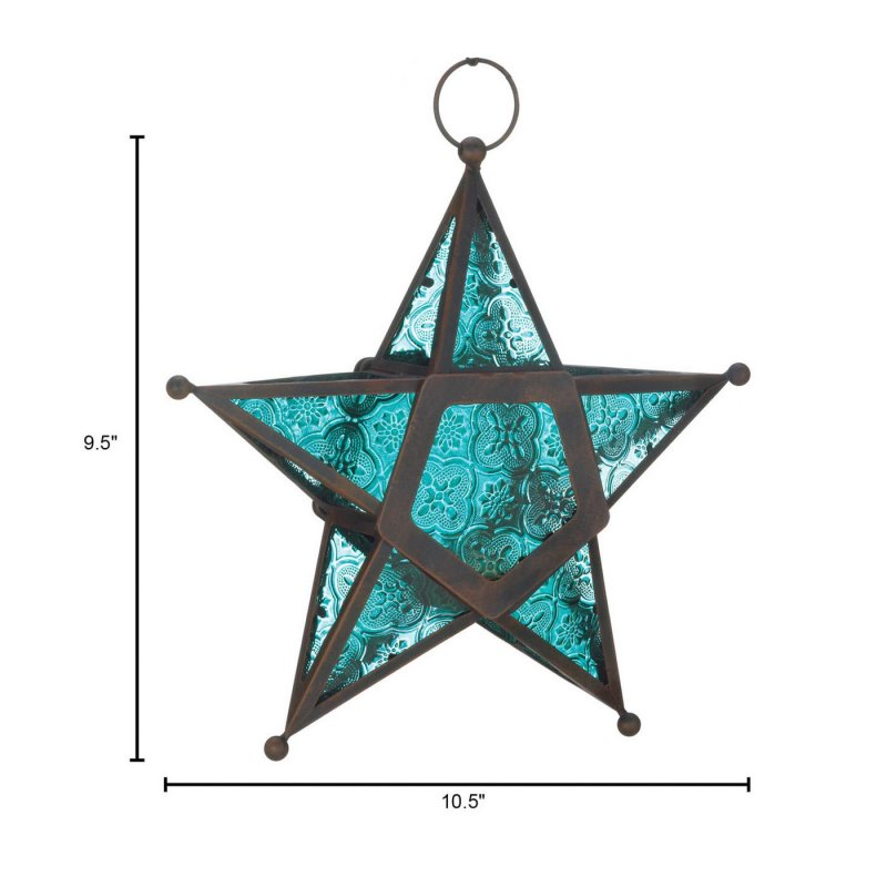 Image 1 of Hanging Blue Star Candle Lanterns Use Indoors or Outdoors  Iron & Glass