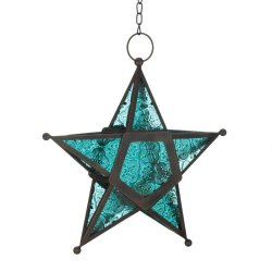 Hanging Blue Star Candle Lanterns Use Indoors or Outdoors  Iron & Glass