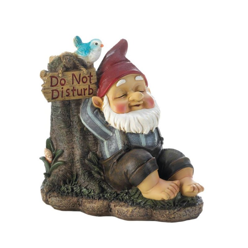 Image 0 of Garden Gnome Snoozing on Bench with Do Not Disturb Sign and Bluebird