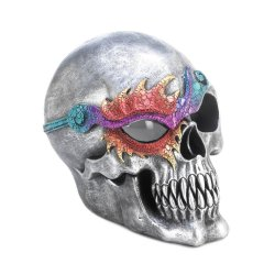 Silvery Fantasy Skull With Colorful Flame Eyepatch and LED Light