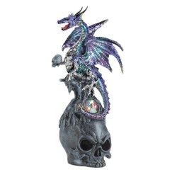 Mystical Jeweled Purple & Aqua Dragon Perched atop Skull Figurine