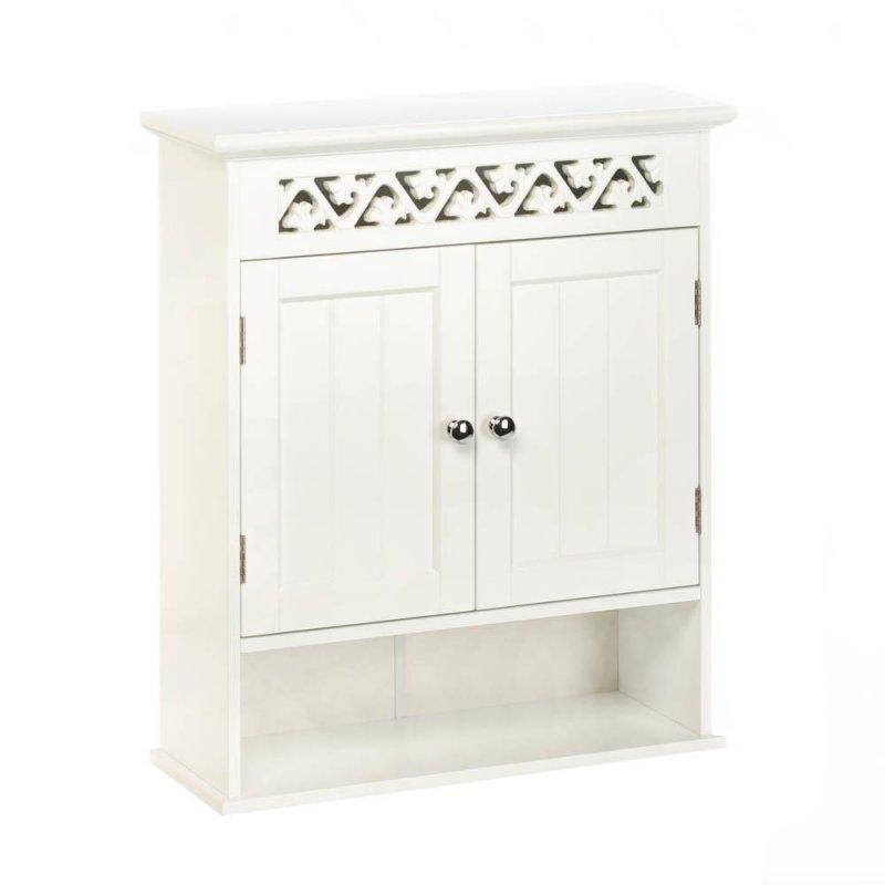 Image 0 of White Ivy Trellis Bathroom Wall Cabinet Ivy Lattice Cutout at Top, Display Shelf