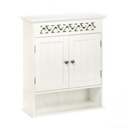 White Ivy Trellis Bathroom Wall Cabinet Ivy Lattice Cutout at Top, Display Shelf