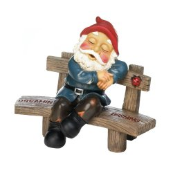 Dreaming & Wishing Garden Gnome Snoozing on Bench with Ladybug