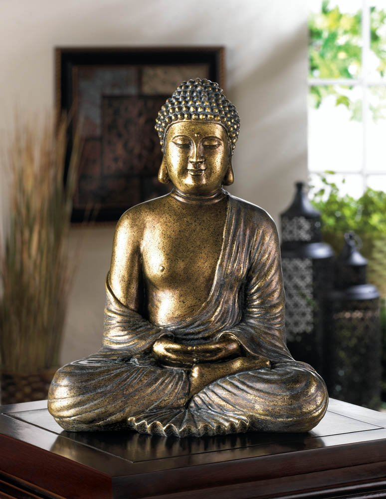 Image 2 of Serene Sitting Buddha in Lotus Position Figure Bronzy Metallic like Finish