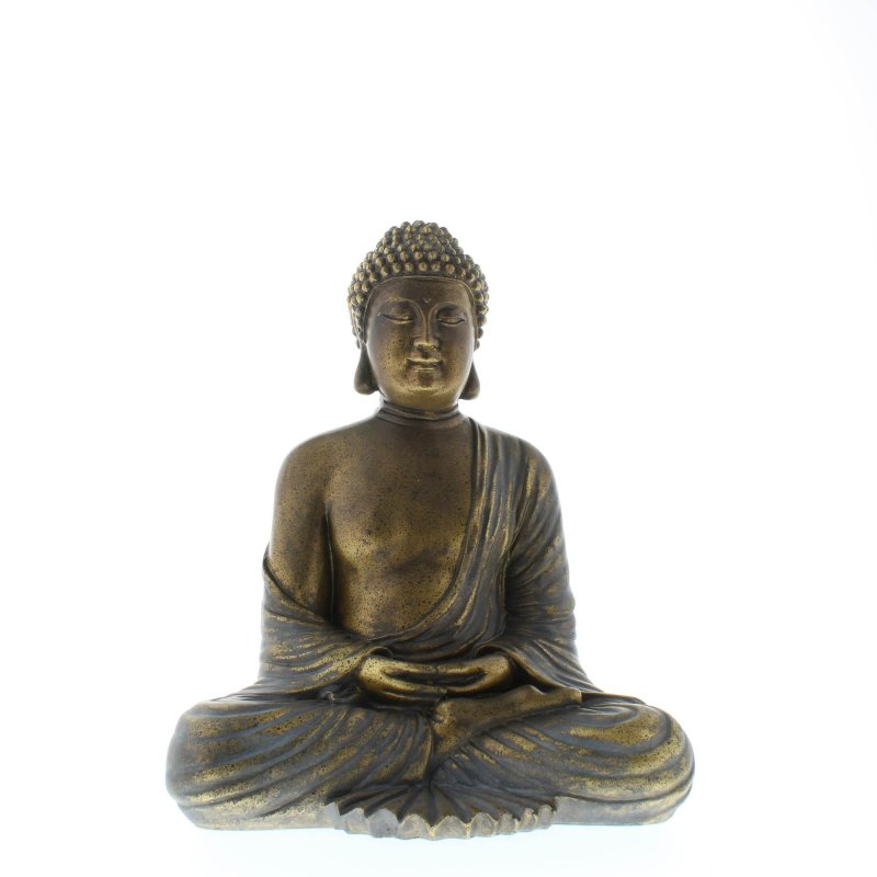 Image 0 of Serene Sitting Buddha in Lotus Position Figure Bronzy Metallic like Finish