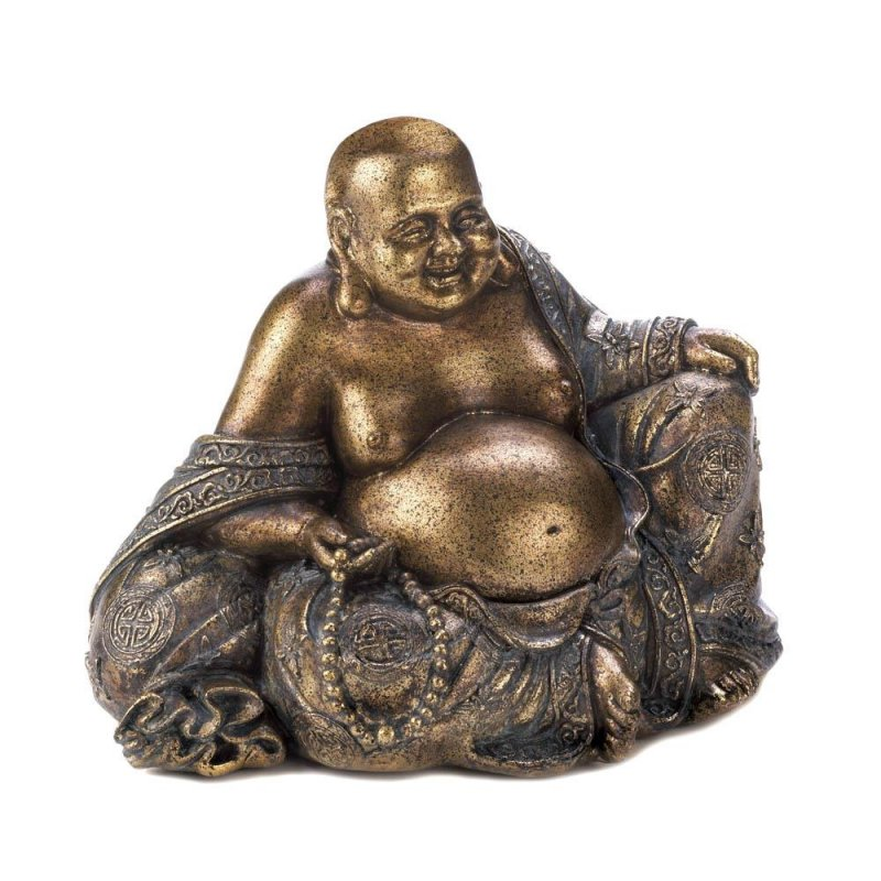 Image 1 of Smiling Sitting Golden Buddha Figurine Metallic Fleck Finish