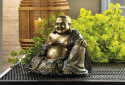 Smiling Sitting Golden Buddha Figurine Metallic Fleck Finish