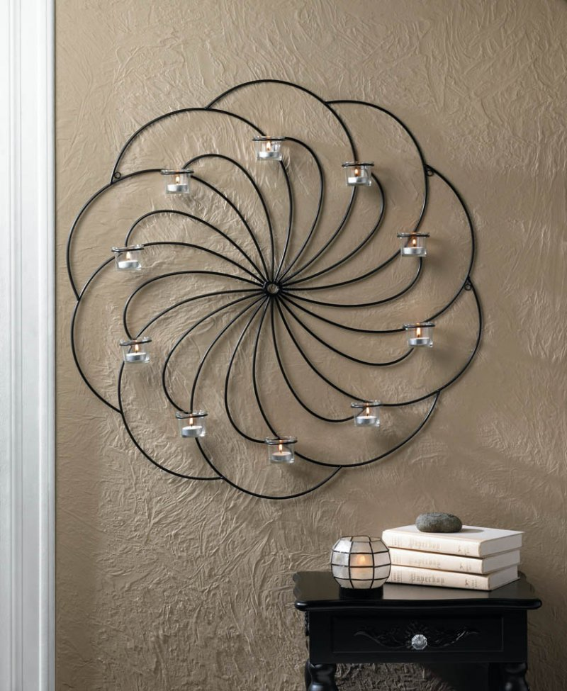 Image 0 of Beautiful Black Iron Pinwheel Candle Wall Sconce with 10 Clear Candle Cups