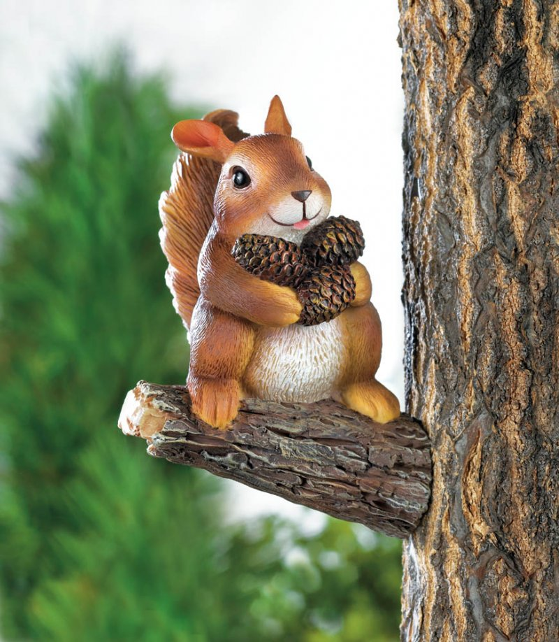 Image 0 of Squirrel Gathering Pine Cones Garden Figurine Mounts to Tree