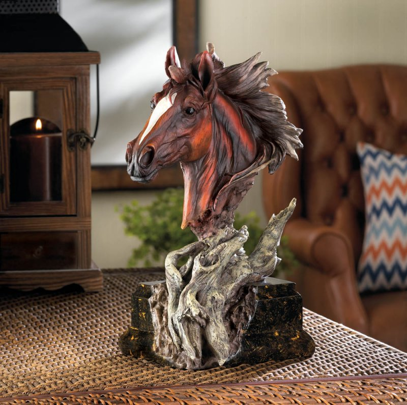Image 0 of Dramatic Driftwood Stallion Horse Head Bust Figurine