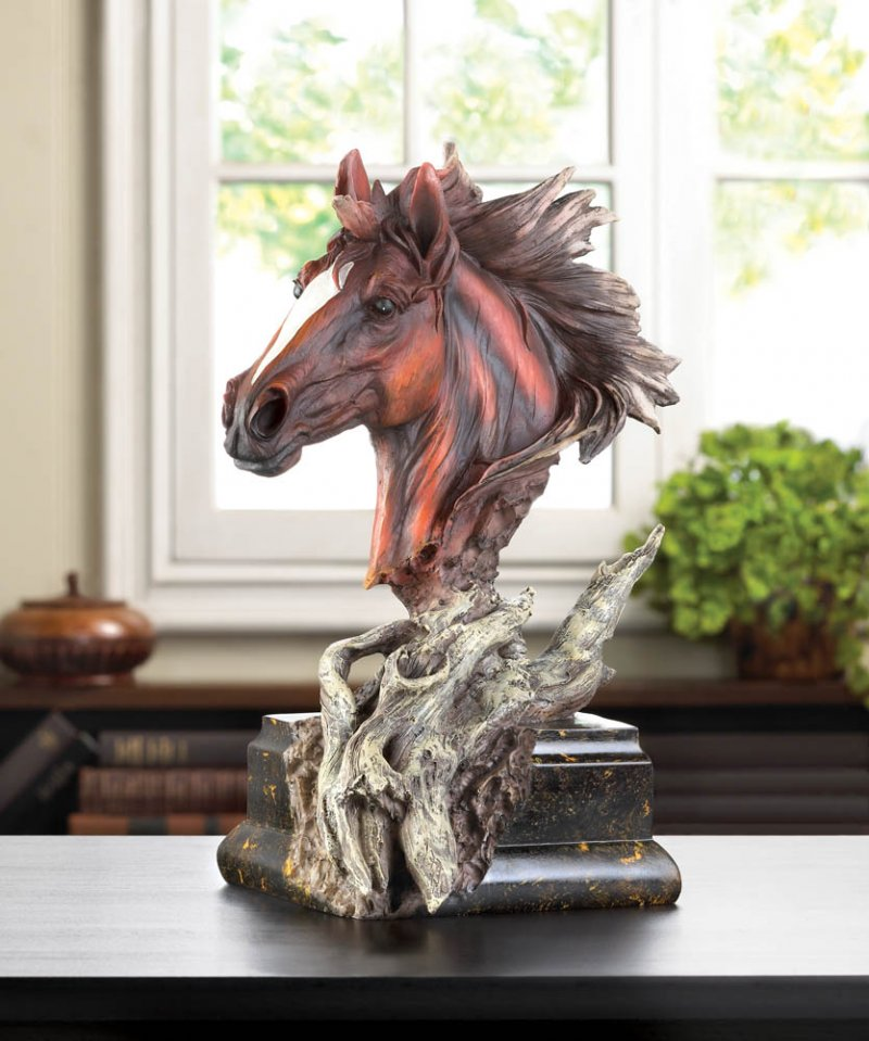 Image 1 of Dramatic Driftwood Stallion Horse Head Bust Figurine