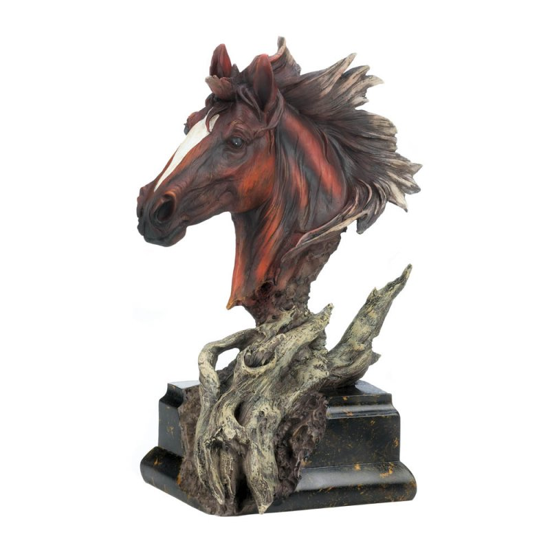 Image 2 of Dramatic Driftwood Stallion Horse Head Bust Figurine