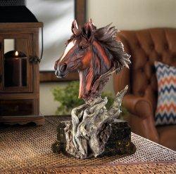 Dramatic Driftwood Stallion Horse Head Bust Figurine