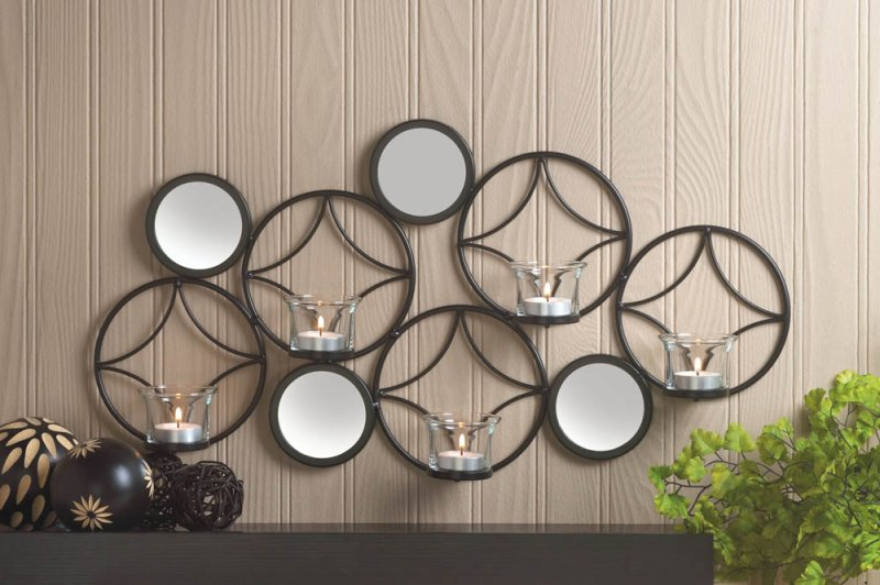 Image 0 of Modern & Retro Combine for a Stylish Black Diamond & Circle Candle Wall Sconce