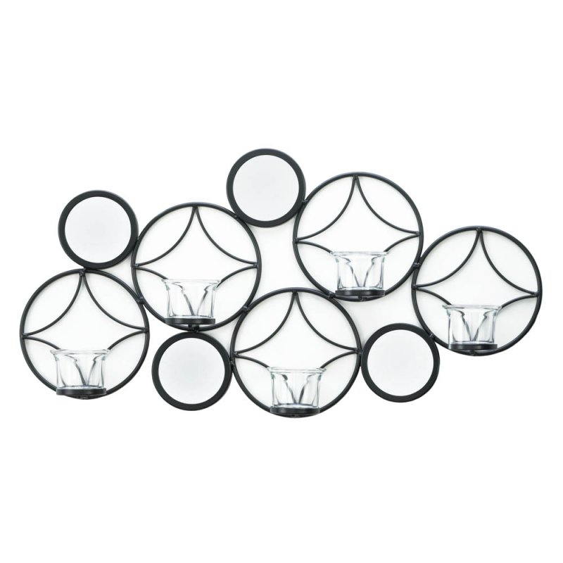 Image 1 of Modern & Retro Combine for a Stylish Black Diamond & Circle Candle Wall Sconce