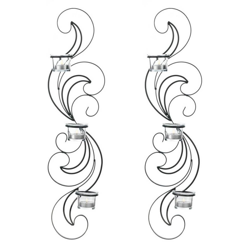 Image 1 of Set of 2 Wisps of Curling Black Iron Candle Wall Sconces 3 Clear Candle Cups