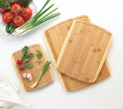 Set of 3 Sleek Bamboo Cutting Boards Various Sizes
