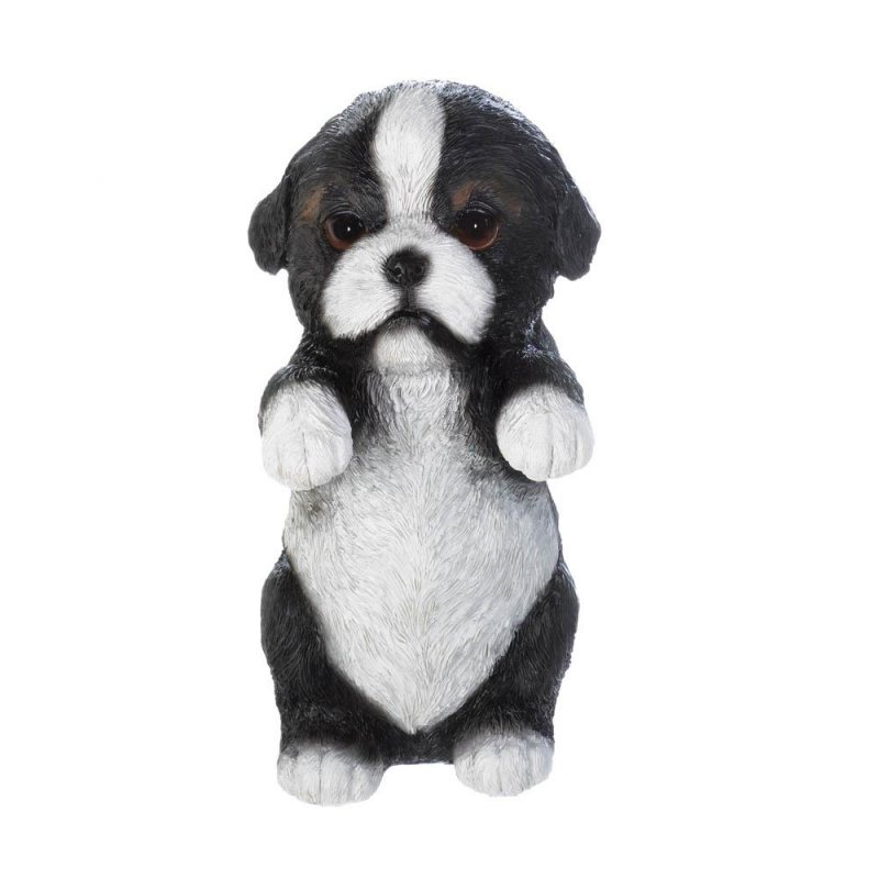 Image 0 of Misty Climbing Border Collie Pup Figurine for Fence or Potted Plant