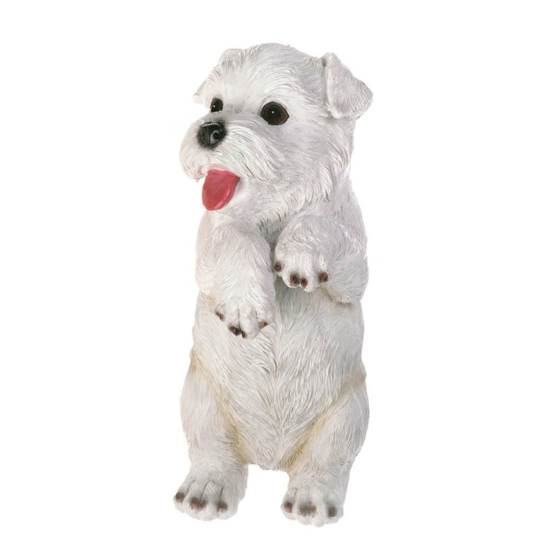 Image 0 of Aspen Climbing Cute White Terrier Pup Figurine for Fence or Potted Plant