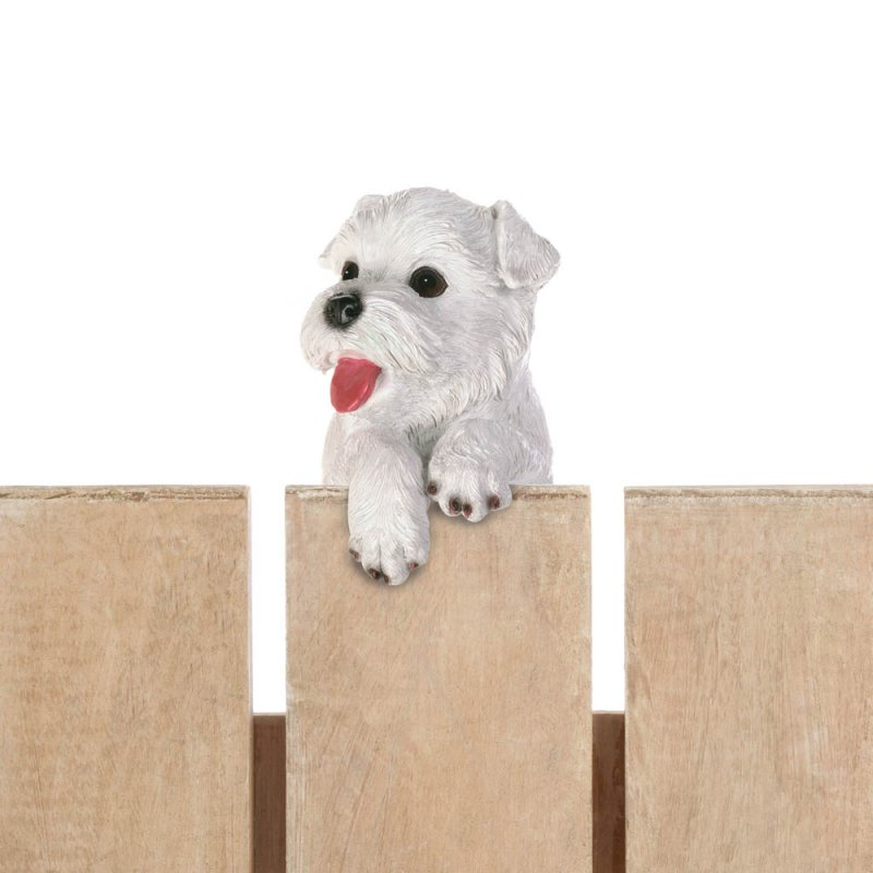 Image 1 of Aspen Climbing Cute White Terrier Pup Figurine for Fence or Potted Plant