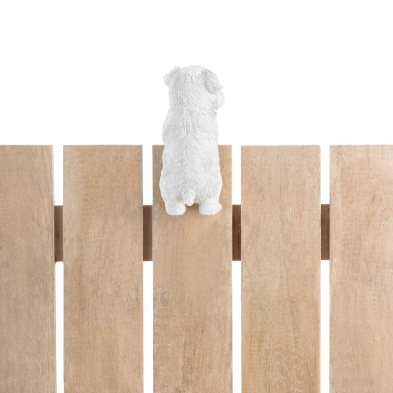 Image 2 of Aspen Climbing Cute White Terrier Pup Figurine for Fence or Potted Plant