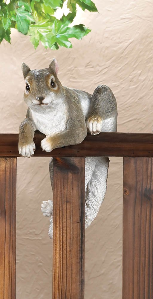 Image 0 of Chip The Climbing Squirrel Figurine for Fence or Potted Plant