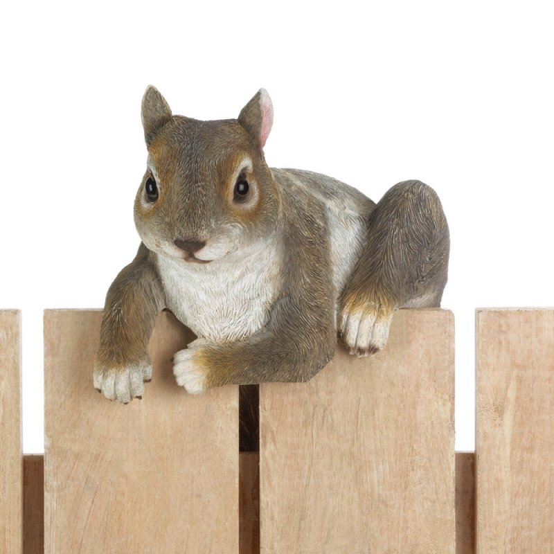 Image 1 of Chip The Climbing Squirrel Figurine for Fence or Potted Plant