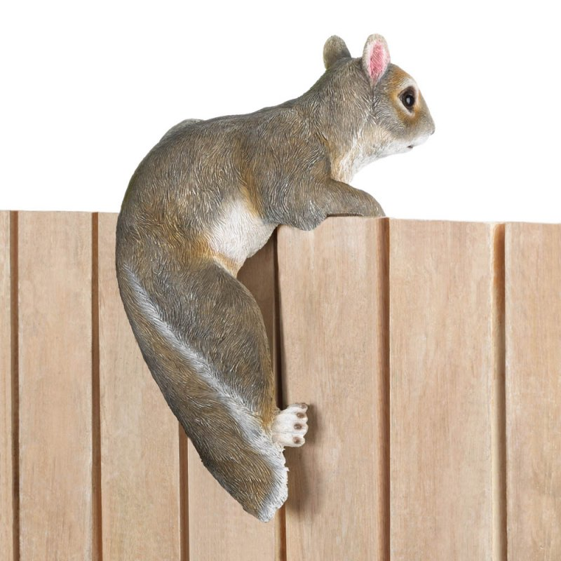 Image 2 of Chip The Climbing Squirrel Figurine for Fence or Potted Plant