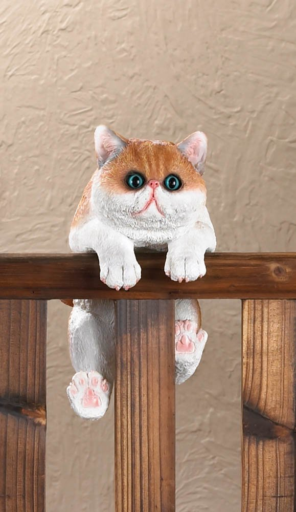 Image 0 of Giles Climbing Big Eyed Orange & White Kitten Figurine for Fence or Potted Plant