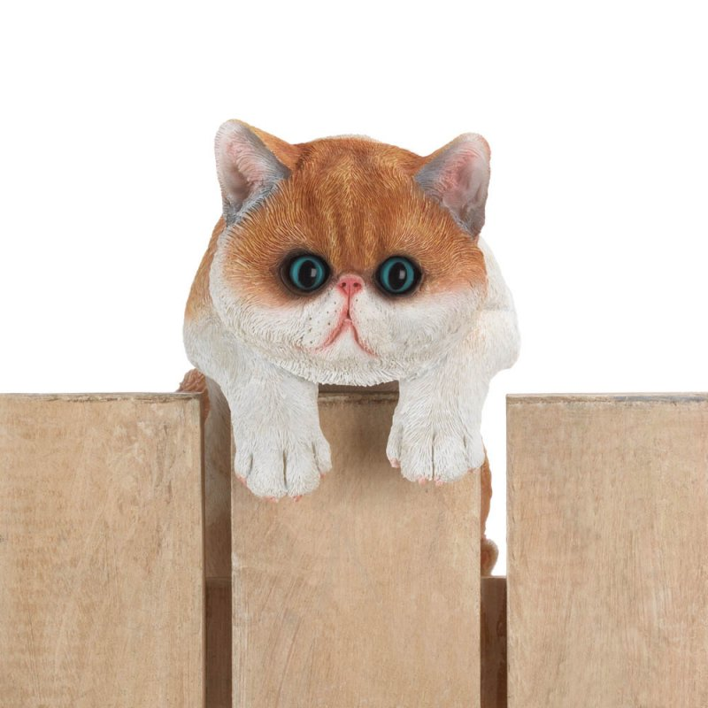 Image 1 of Giles Climbing Big Eyed Orange & White Kitten Figurine for Fence or Potted Plant
