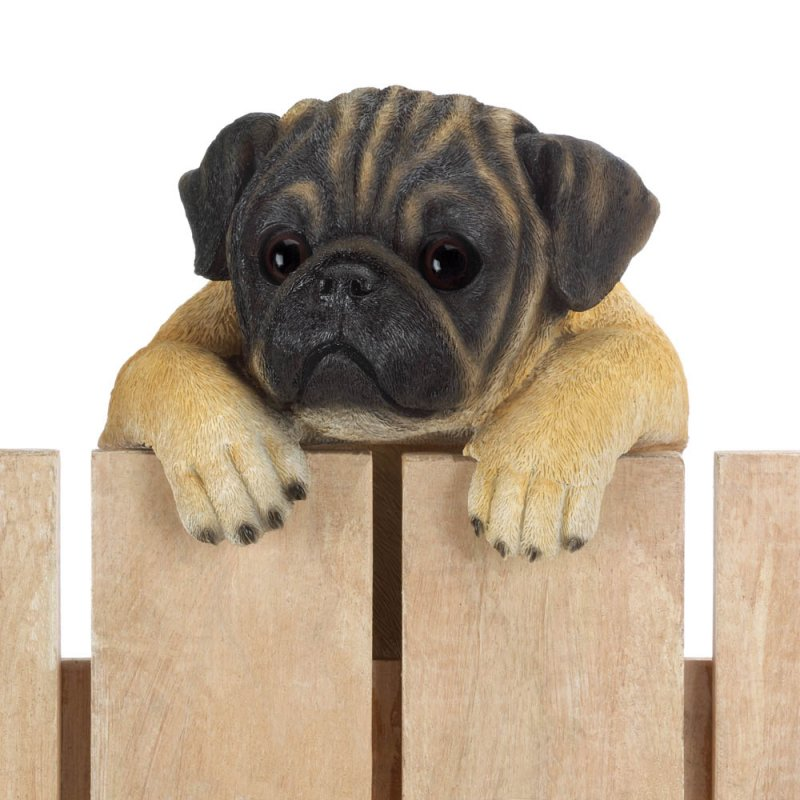 Image 0 of Daisy Climbing Pug Pup Figurine for Fence or Potted Plant