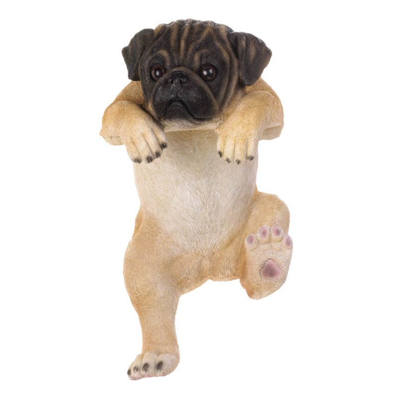 Image 2 of Daisy Climbing Pug Pup Figurine for Fence or Potted Plant