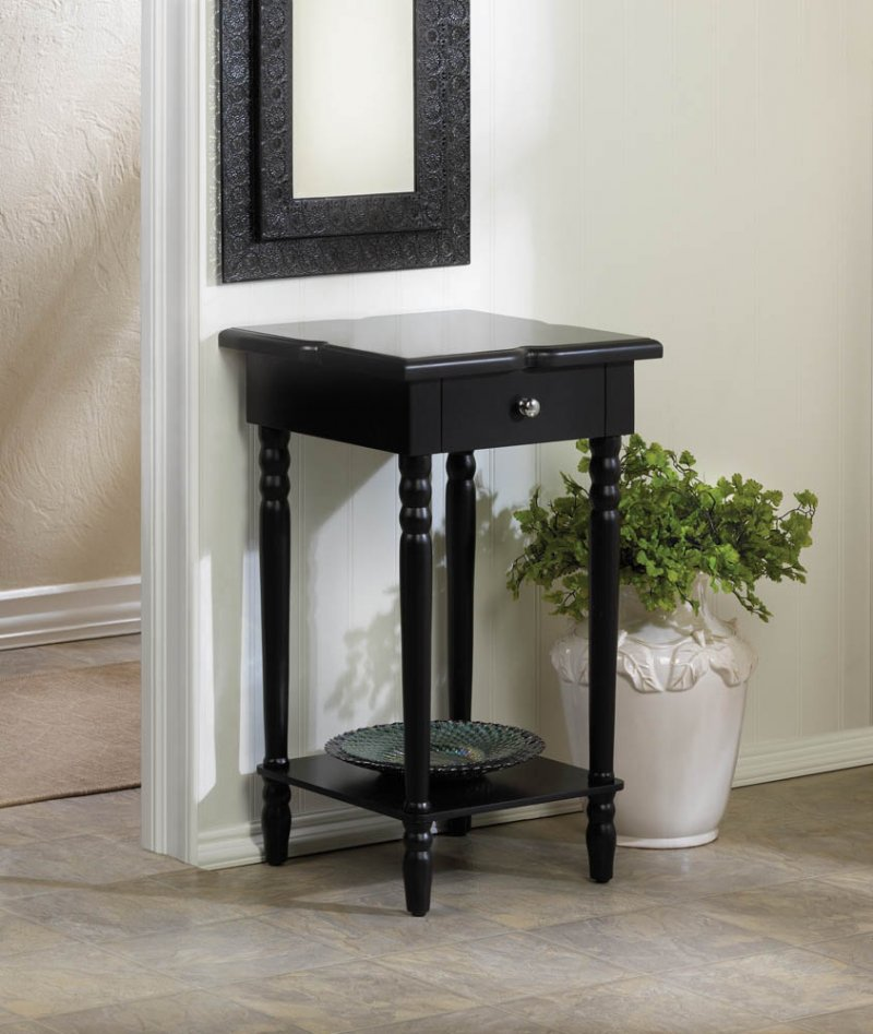Image 0 of Hampton Black Side, End Accent Table Nightstand w/ Drawer & Lower Shelf