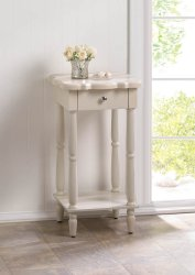 Chatham White Scalloped Edge Side, End Accent Table w/ Drawer & Lower Shelf