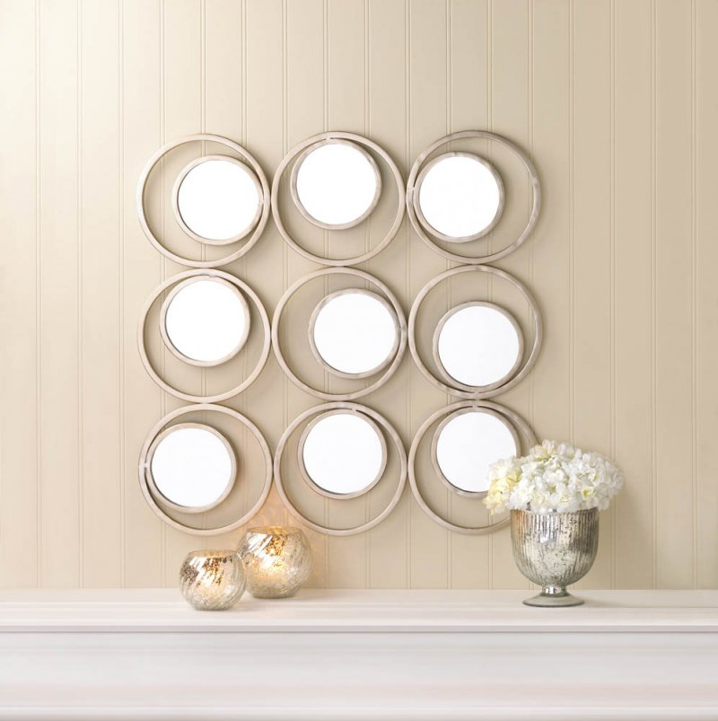 Image 0 of Modern Revolution 9 Small Round Mirrors on Off White Circle Frame Wall Decor