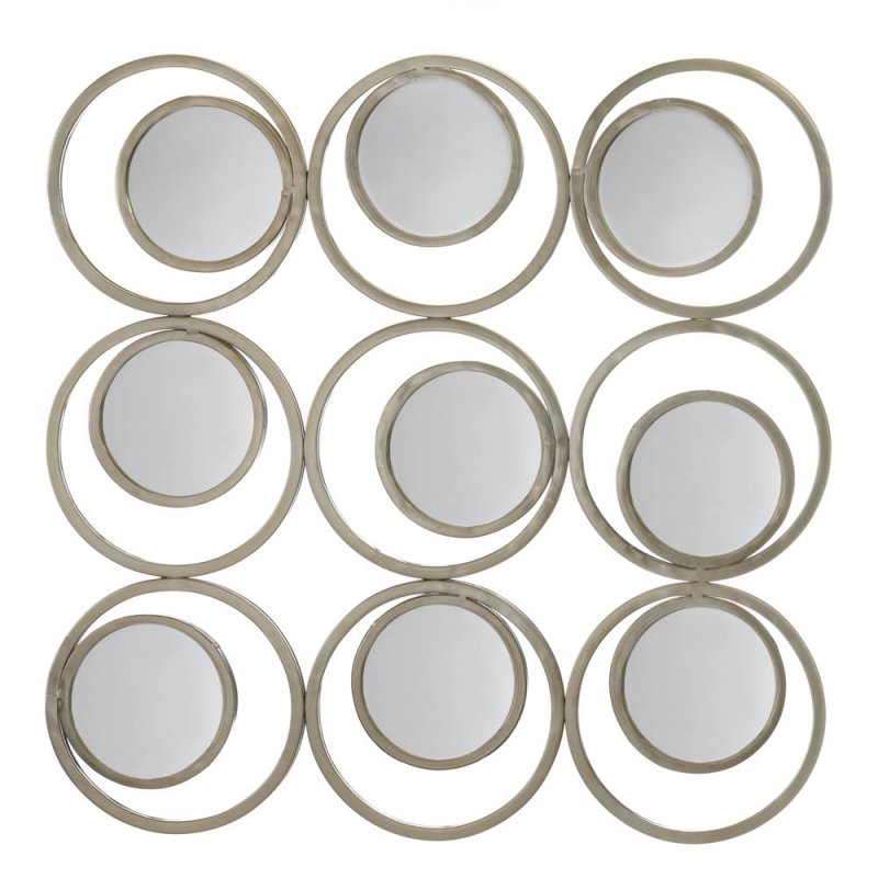 Image 1 of Modern Revolution 9 Small Round Mirrors on Off White Circle Frame Wall Decor