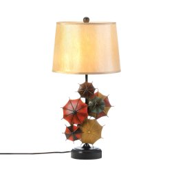 Colorful Umbrella Table Lamp on Black Iron Base with Neutral Linen Shade