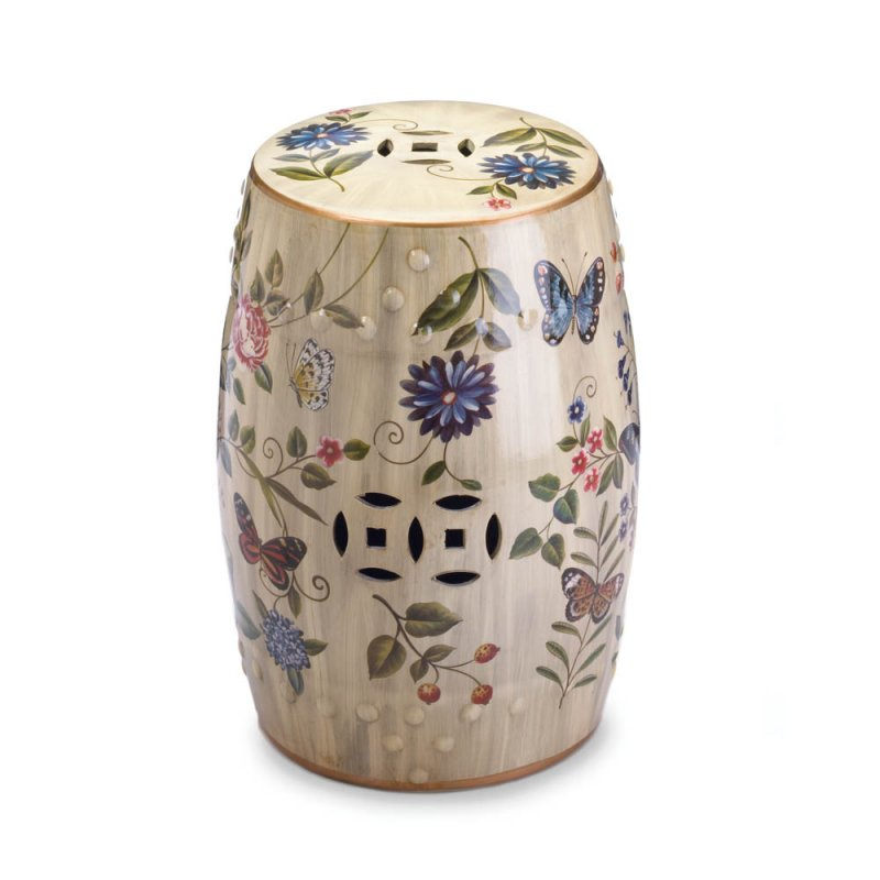Image 0 of Butterfly, Flowers Vintage Glazed Finish Ceramic Stool, Side Table, Plant Stand