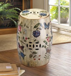 Butterfly, Flowers Vintage Glazed Finish Ceramic Stool, Side Table, Plant Stand