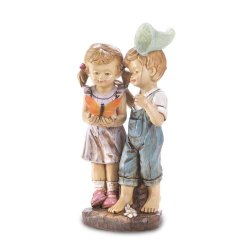 Boy & Girl Catching Butterfly Solar Garden Statue Figurine