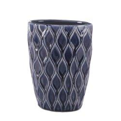 Deep Blue Wave Pattern Decorative Wide Mouth Vase Stoneware
