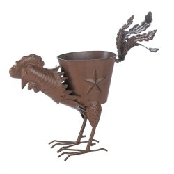 Iron Strutting Rooster Planter Weathered Brown Finish