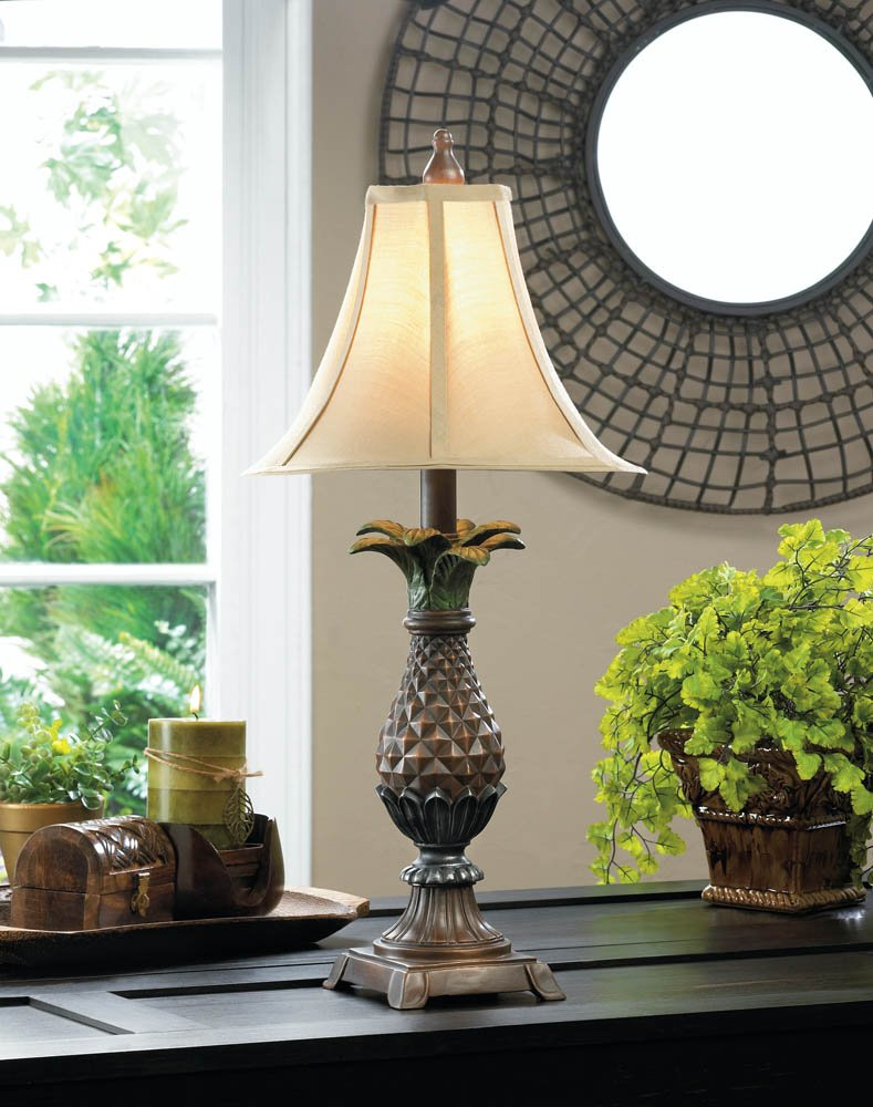 Image 0 of Classic Pineapple Table Lamp with Neutral Shade