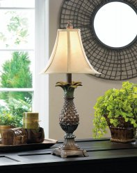 Classic Pineapple Table Lamp with Neutral Shade