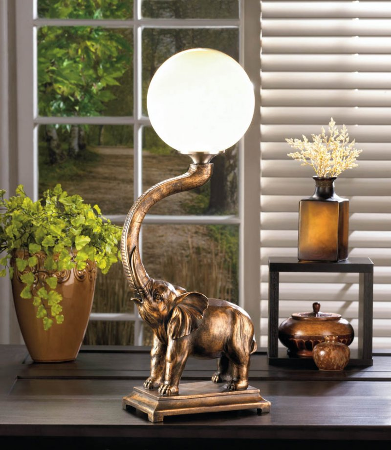 Image 0 of Trumpeting Elephant with White Globe Figural Table Lamp